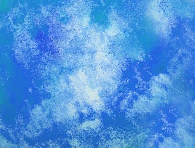 추상 블루 수채화 배경입니다. 종이에 튀는 색. 손으로 그린.