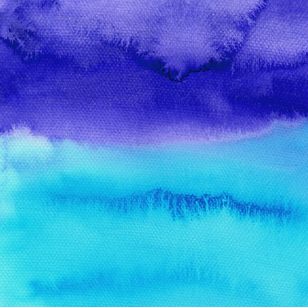 Abstract blue watercolor hand painted background. sky or ocean backdrop.