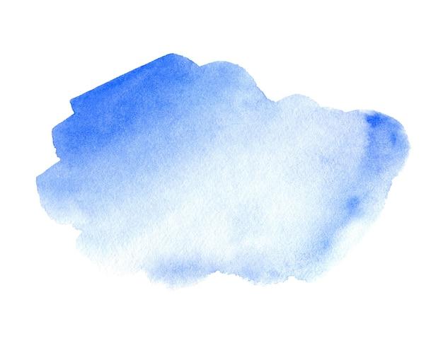 白い背景の上の抽象的な青い水彩画。テキストまたはロゴの水彩クリップアート