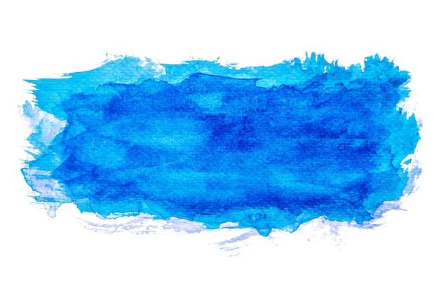 抽象的なブルー水彩スプラッシュ、紙の上に手塗り。