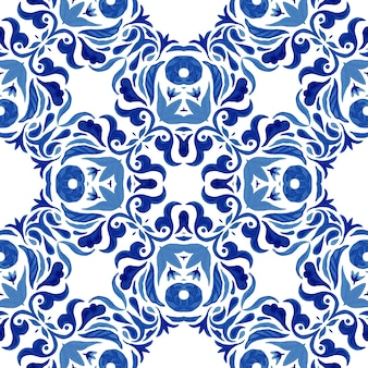 Abstract blue and white hand drawn damask tile seamless ornamental mediterranean watercolor paint pattern