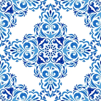 Abstract blue and white hand drawn damask tile seamless ornamental retro watercolor paint pattern. portuguese ceramic tiles inspired. floral cross