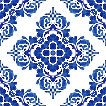 Abstract blue and white hand drawn damask tile seamless ornamental retro watercolor paint pattern.