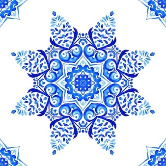 Abstract blue and white hand drawn medallion tile seamless ornamental watercolor paint pattern.