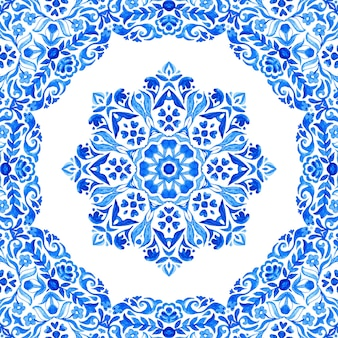 Abstract blue and white hand drawn medallion tile seamless ornamental wreath watercolor paint pattern