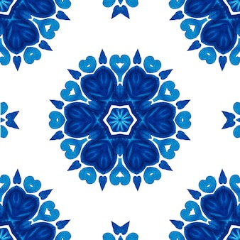 Abstract blue and white hand drawn seamless flower ornamental watercolor pattern with flower and geometric decor