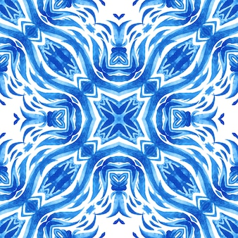 Abstract blue and white hand drawn textured tile seamless ornamental watercolor pattern. elegant old fashioned texture. azulejo tile design style