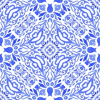 Abstract blue and white hand drawn tile seamless ornamental watercolor paint pattern. can be used as a christmas card or background, fabric and ceramic tiles, tableware