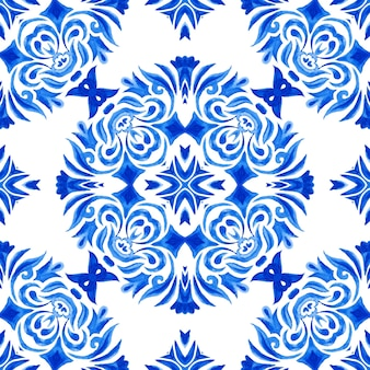 Abstract blue and white hand drawn tile seamless ornamental watercolor paint pattern. elegant luxury texture for invitation fabric and wallpapers, backgrounds templates and page fill.