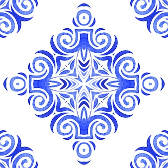 Abstract blue and white hand drawn tile seamless ornamental watercolor paint pattern. elegant wave luxury texture for fabric and wallpapers, backgrounds and page fill.