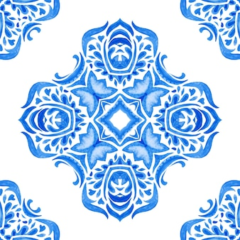 Abstract blue and white hand drawn tile seamless ornamental watercolor paint pattern