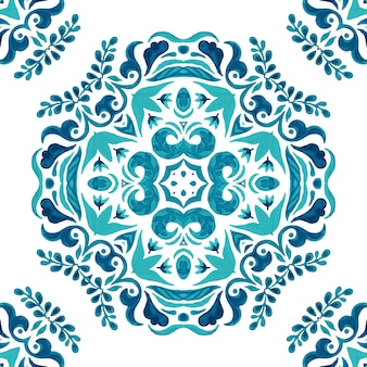 Abstract blue and white hand drawn tile seamless ornamental watercolor paint pattern.