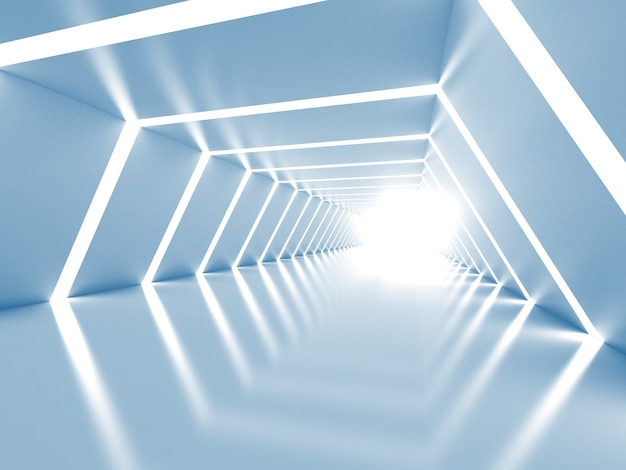 Abstract blue and white shining tunnel interior