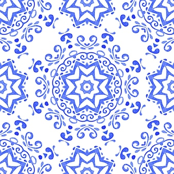Abstract blue and white star hand drawn tile seamless ornamental watercolor paint pattern. elegant luxury texture for fabric and wallpapers, backgrounds and page fill.