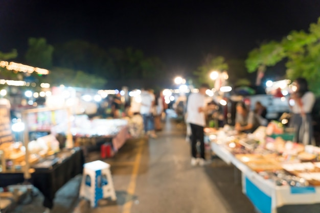 タイの抽象的なぼやけた夜市市場