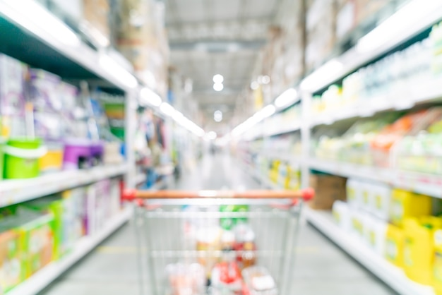 Абстрактное размытие и расфокусированный супермаркет для фона