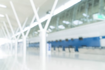Abstract Blur Background : Empty Airport Check-In Counters
