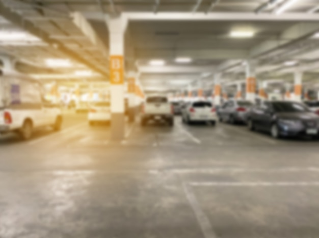 Abstract blur background of indoor car parking