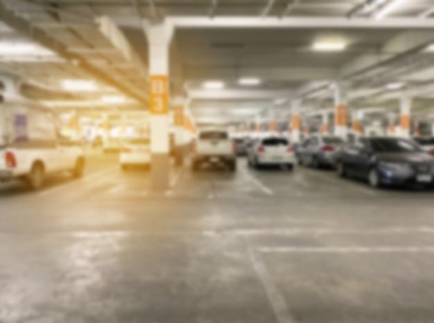 실내 자동차 주차장의 추상 흐림 배경