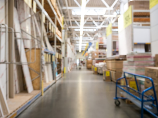 Abstract blur background of store for home improvement and diy