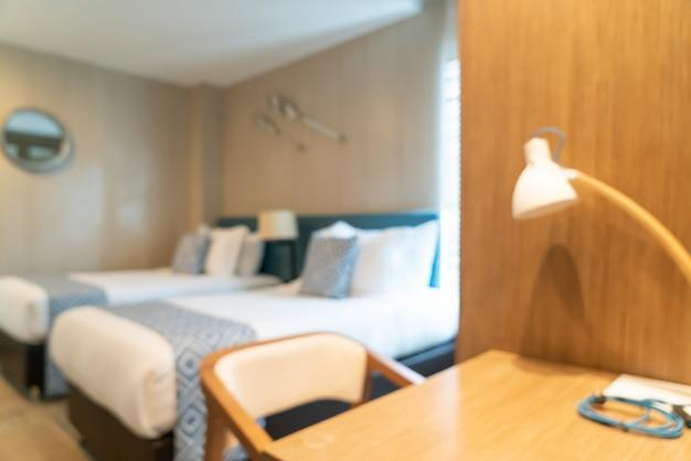 Абстрактное размытие красивый роскошный интерьер спальни отеля для фона
