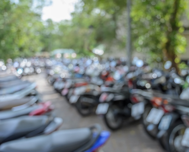 Abstract blur building motorcycle parking background