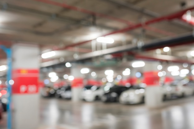 Abstract blur car parking in building