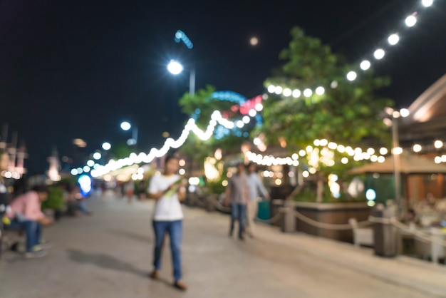 Abstract blur crowded people at asiatique the riverfront