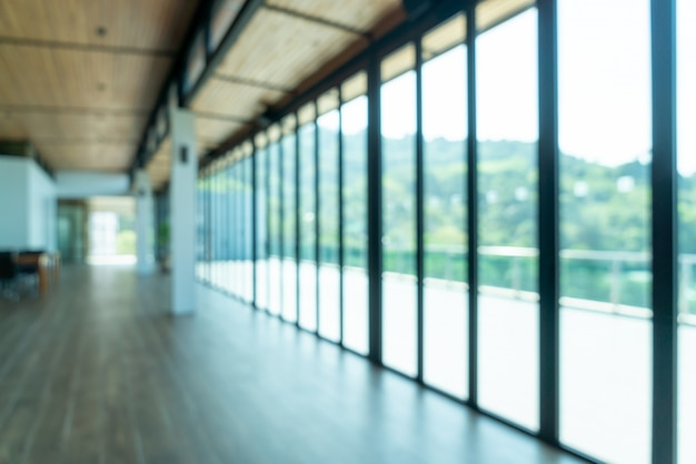Abstract blur and defocus empty room with sea view