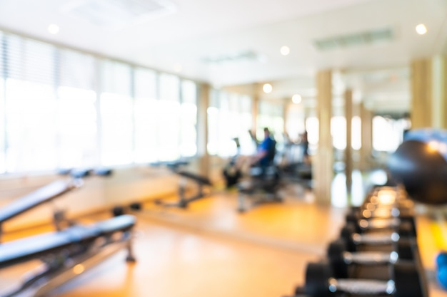 Abstract blur and defocus fitness equipment in gym interior