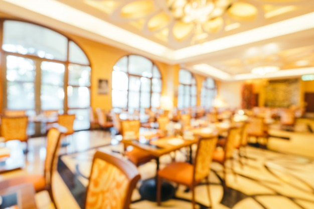 Abstract blur and defocused breakfast buffet in hotel restaurant and coffee shop cafe interior