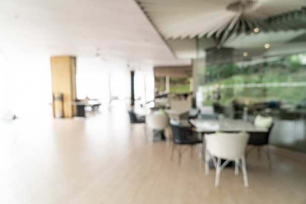 Abstract blur and defocused breakfast buffet at hotel restaurant interior