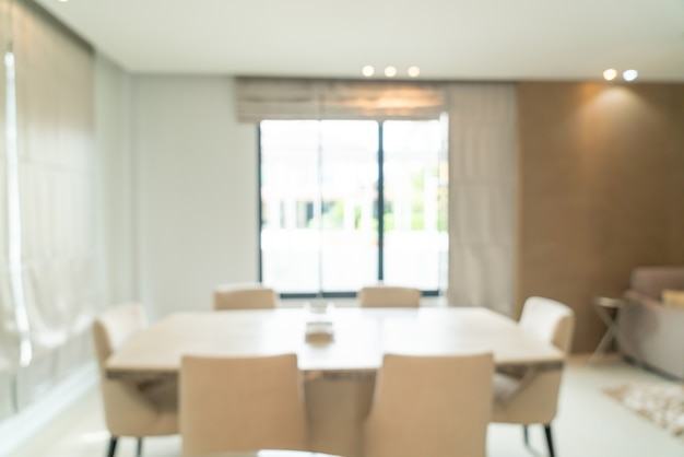 Abstract blur and defocused dining table in dining room for