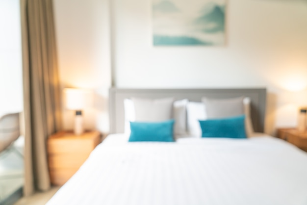 Abstract blur and defocused hotel resort bedroom for background
