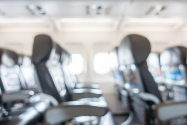 Abstract blur and defocused seat in airplane interior