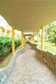 Abstract blur empty walkway in hotel resort