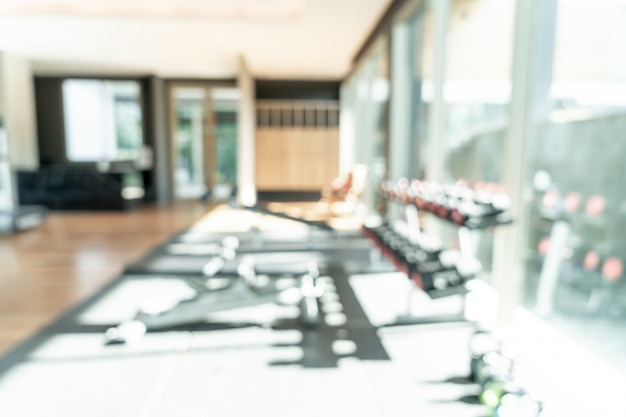 Abstract blur fitness equipment of gym interior