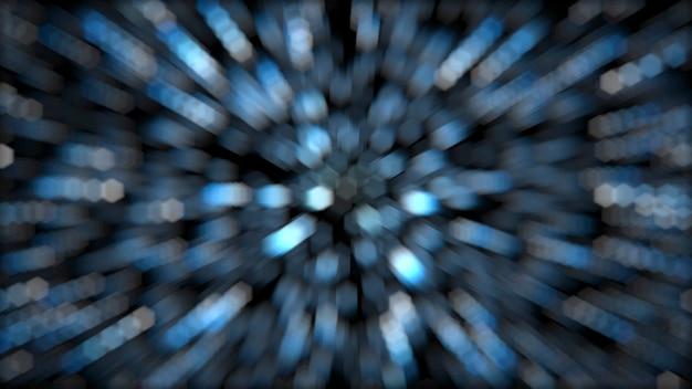 Abstract blur hexagon star burst simulation million colorful light on black background