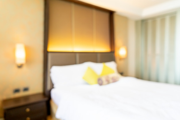 Abstract blur hotel bedroom interior
