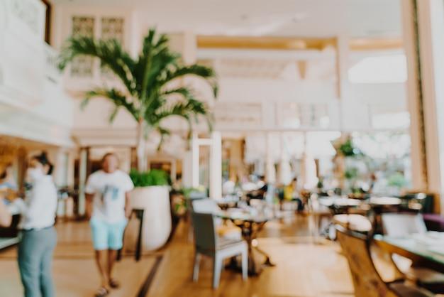 背景の抽象的なぼかしホテルレストラン
