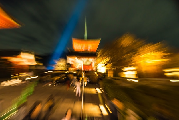 Abstract blur kiyomizu-dera temple kyoto, japan