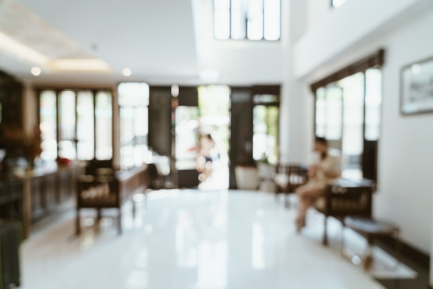 Abstract blur lobby hotel for background