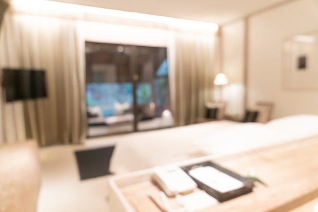 표면에 대 한 추상 흐림 럭셔리 호텔 리조트 침실 인테리어