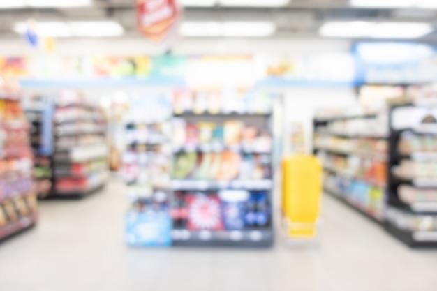 Minimart 및 슈퍼마켓에서 추상 흐림 선반
