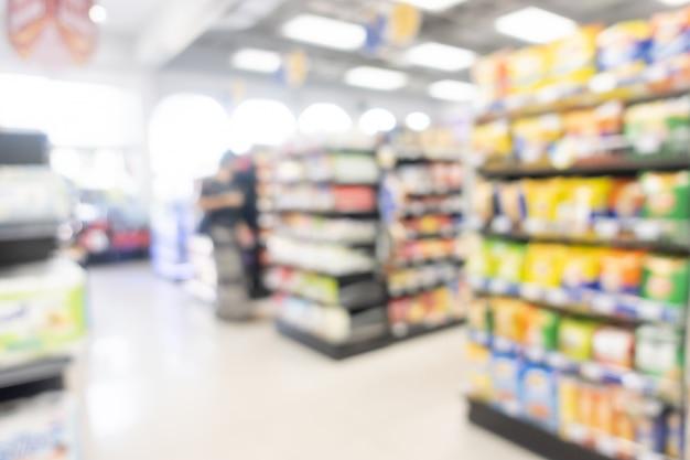 Abstract blur shelf in minimart and supermarket