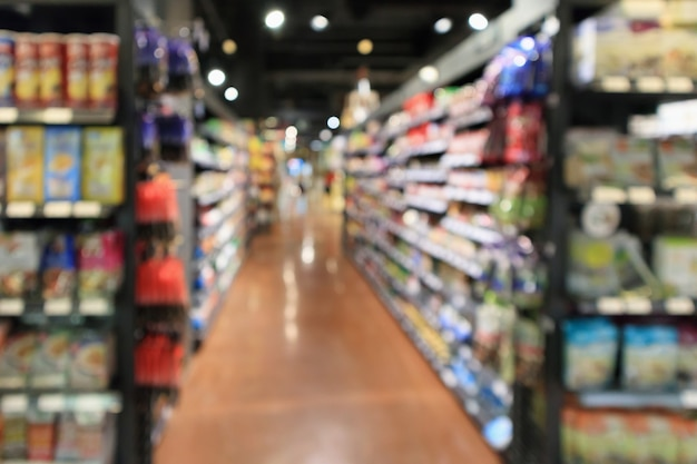 Abstract blur supermarket aisle defocused background