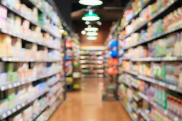 Абстрактный размытие супермаркета проход расфокусированным фон