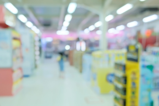 Abstract blur supermarket and retail store