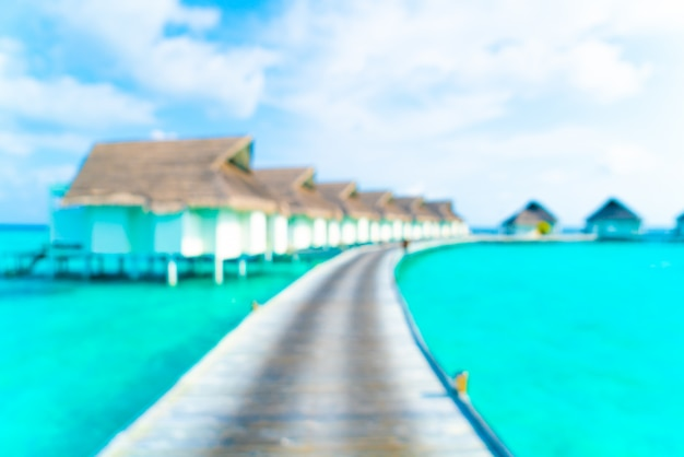 Abstract blur tropical beach and sea in maldives for background