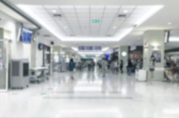 Abstract blur walking way on hospital lobby for waiting doctor
